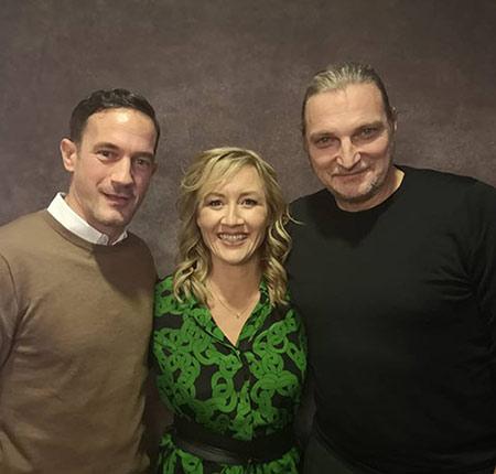 Christian-Tasche-Filmpreis-Gala Unna 2019, (links) Sönke Möhring, (mitte) Sabine Ziemke, (rechts) Stefan Jürgens